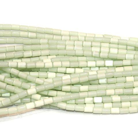 Cat's Eye Tube Beads Sea Green 3x5mm 10 Strings