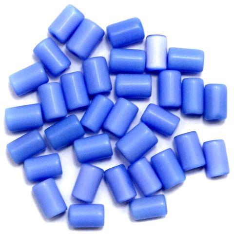 290+ Cat's Eye Tube Beads Blue 10x6mm
