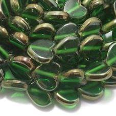 5 Strings Window Metallic Lining Heart Beads Green 13x10 mm