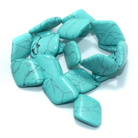 15+ Synthetic Stone Beads Turquoise 24x19 mm