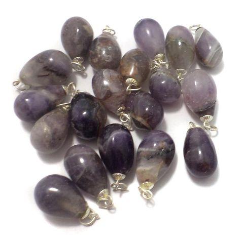 10 Pcs. Amethyst Drop Stone Pendants 23x12 mm