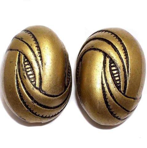 10 Acrylic Oval Beads Golden Finish 34x24mm