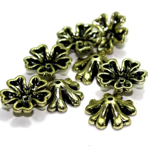 225+ Acrylic Flower Beads Golden 15mm