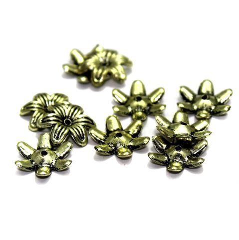 545+ Acrylic Flower Beads Golden 13mm