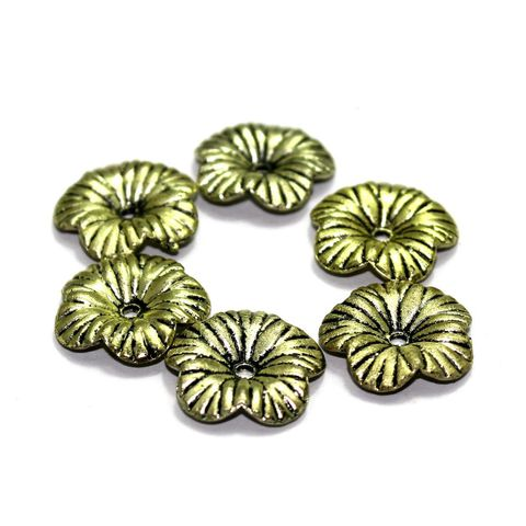 200+ Acrylic Flower Beads Golden 20mm
