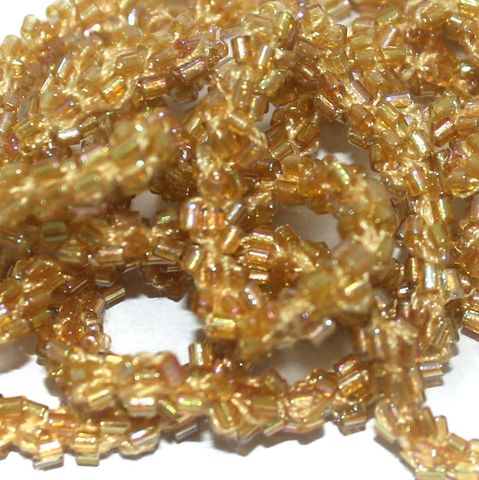 1 Mtr Trans Golden Rainbow Seed Bead Beaded String For Necklace