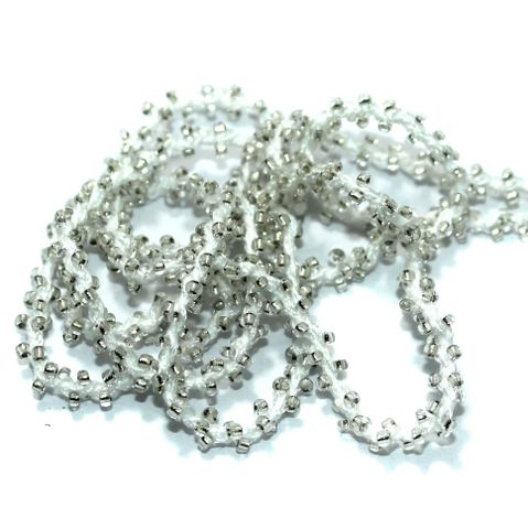 1 Mtr Trans White Seed Bead Beaded String For Necklace