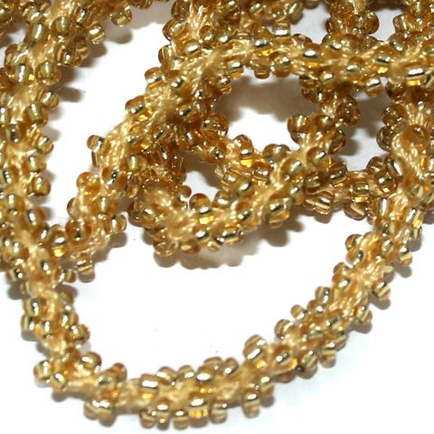 1 Mtr Silver Line Golden Seed Bead Beaded String For Necklace