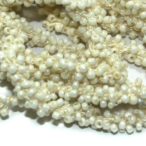 1 Mtr Luster Cream Seed Bead Beaded String For Necklace