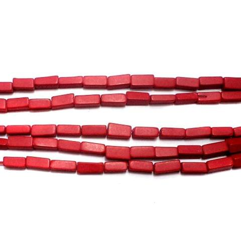 1 Strings Semiprecious Rectangle Beads Red 6x4 mm
