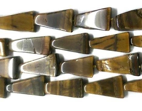 1 Strings Semiprecious Stone Triangle Beads Tiger Eye 12x6 mm