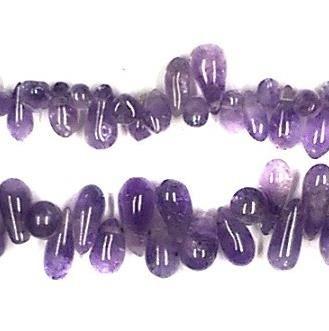 1 Strings Semiprecious Stone Drop Beads Purple 8x4 mm