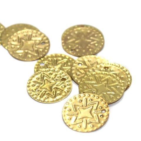 100 Metal Stamps Plain Golden 12mm