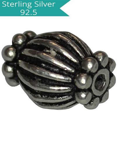 Sterling Silver Striped Bead