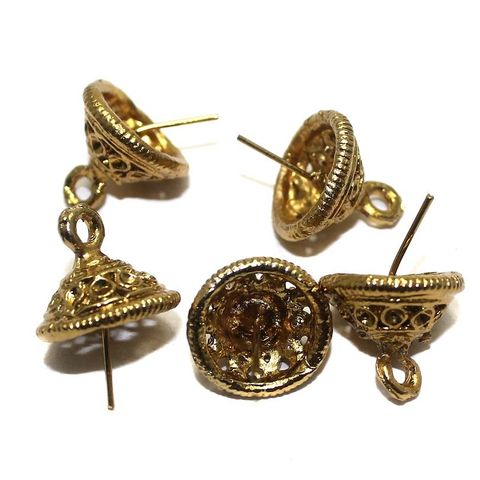 5 Pair Earring Stud Golden 15 mm
