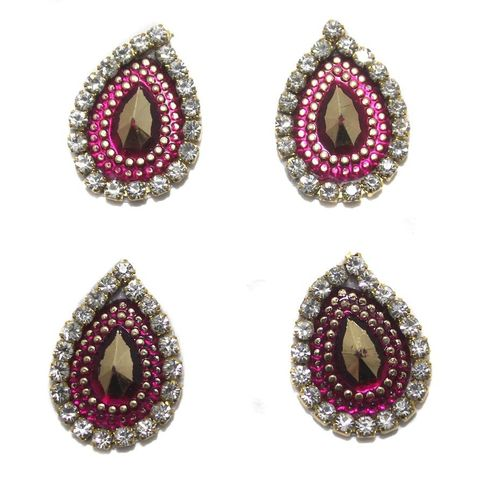 12 Cabochon Bezels Tear Drop Magenta 18x14mm