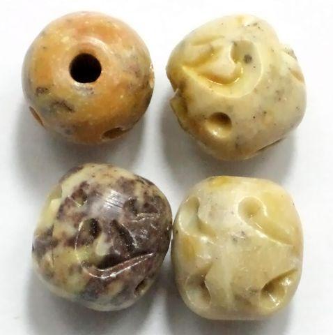 7 Soap Stone Round Beads 14 mm