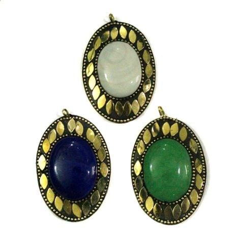 Tibetan Pendants, Size 6.5x5cm, Pack of 3 pcs