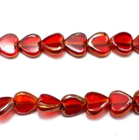 5 Strings Window Metallic Lining Heart Beads Red 10 mm