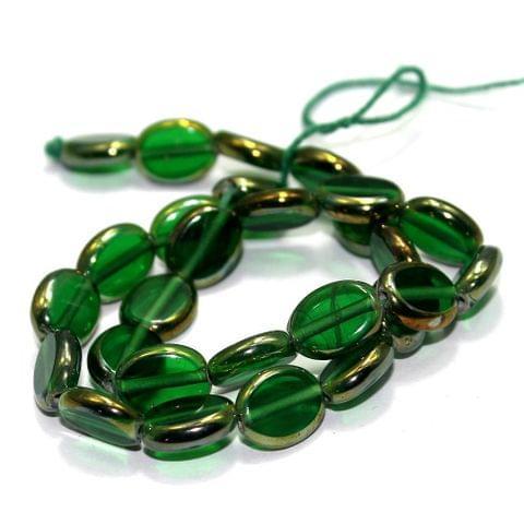 5 Strings Window Metallic Lining Flat Oval Beads Green 11x9 mm