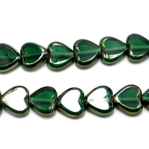 5 Strings Window Metallic Lining Heart Beads Green 10 mm