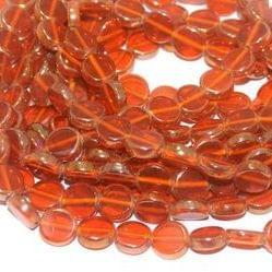 5 Strings Glass Window Metallic Disc Beads Orange 10 mm
