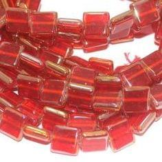 5 Strings Glass Window Metallic Square Beads Red 12 mm
