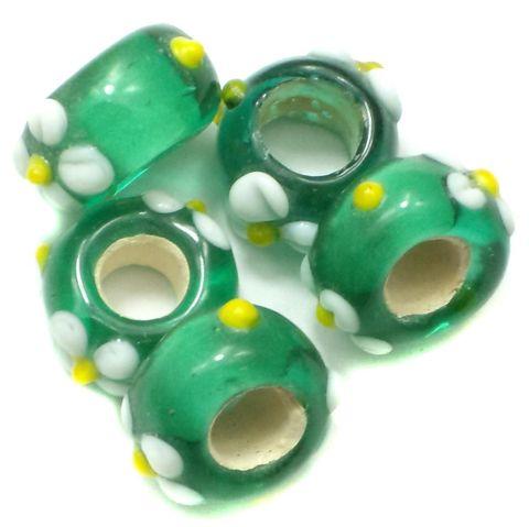 10 Pandora Beads Green 8x14mm