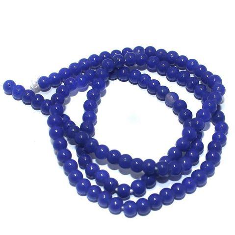 5 Strings of Jaipuri Round Beads Blue 4mm