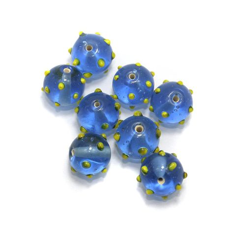 80+ Bump Dotted Round Beads Light Blue 16 mm