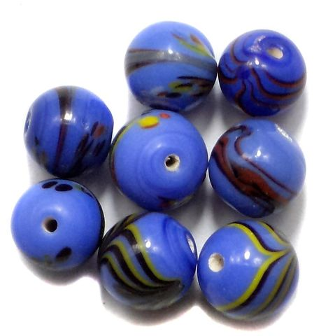 225+ Fancy Round Beads Blue 8-12mm