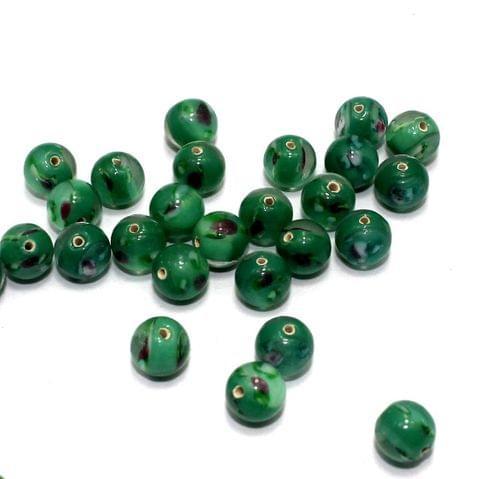 250 Millefiori Round Beads Green 8mm