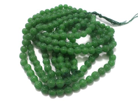 5 Strings Glass Kharbooja Beads Green 10 mm