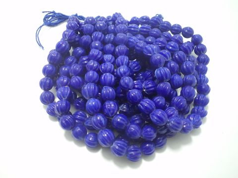 5 Strings Glass Kharbooja Beads Blue 10 mm