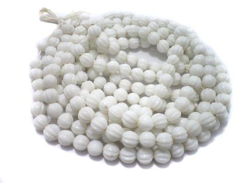 5 Strings Glass Kharbooja Beads White 10 mm