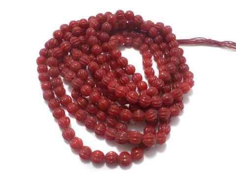 5 Strings Glass Kharbooja Beads Red 10 mm