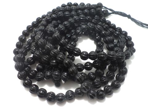 5 Strings Glass Kharbooja Beads Black 10 mm