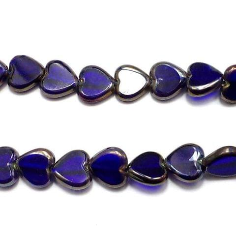 5 Strings Window Metallic Lining Heart Beads Blue 10 mm