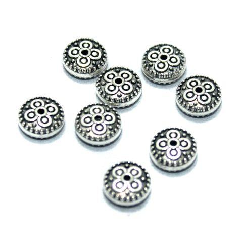 50 Pcs. German Silver Beads, Size-10x4mm