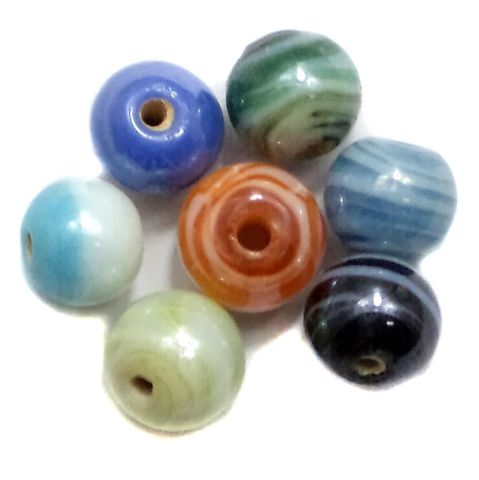 110+ Swirl Glass Round Beads Assorted AB Finish 8mm