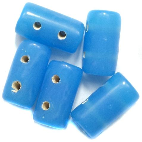 10 Spacer Tube Beads 2 Hole Turquoise 16x10mm