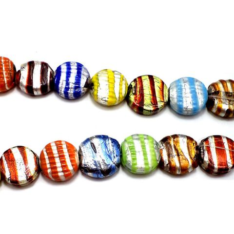 20+ Silver Foil Swirl Coin Beads Assorted 20mm