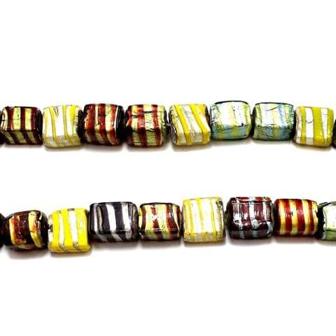 25+ Silver Foil Swirl Square Beads Assorted 14x10mm