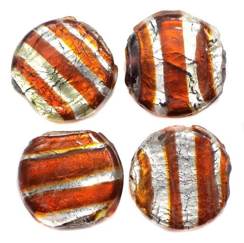 25+ Silver Wrap Swirl Flat Round Beads 18mm