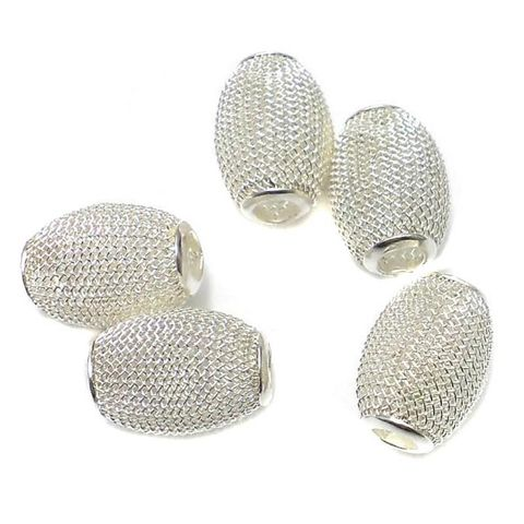 10 Metal Oval Beads Silver 25x15mm
