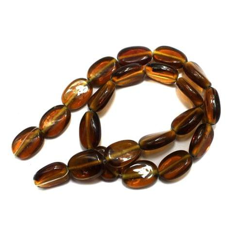 5 strings of Glass Oval Beads Topaz 15x12mm