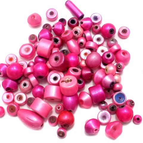 100+ Disco Beads Pink 6-15mm
