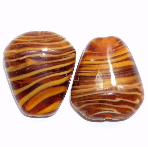 2 Lampwork Drop Beads Dark Brown 32x27x15mm