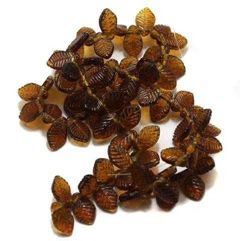 5 Strings of Glass Leaf Beads Topaz 12x8mm