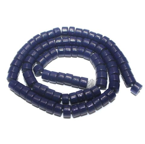 Jaipuri Beads Dark Blue Tyre 5 Strings 6x4mm